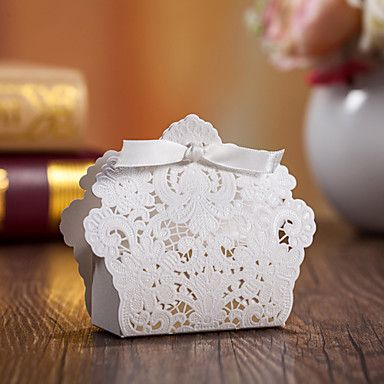 White Wedding Favor Boxes With Ribbon-Set of 12 – AUD $ 10.28