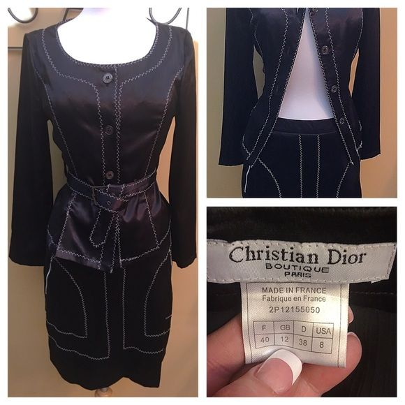 Shop Women's Vintage Christian Dior Black White size 8 Other at a discounted price at Poshmark. Description: 🚫No Offers🚫GORGEOUS Black Christian Dior Paris Women's Two Piece Suit. Black Satin Silky Looking Fabric Along With White Stitching on Both Pieces. This Suit Can Be Worn Separately. They Can Standalone Due to the Quality and Fine Detail. Jacket Has Side Vents, Pockets, Buckle and Buttons have the Christian Dior Stamp. Skirt has Beautiful Waist Banning Two Zipper Pockets, Fitte...