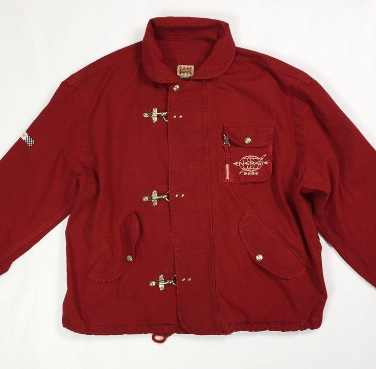 Energie jacket giacca usato uomo XL rosso jeans giubbino vintage denim T3606