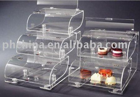 Triple Tiers de pastelería de acrílico vitrina, Panadería vitrina, Exhibición de acrílico pastel de caja de SCB-112