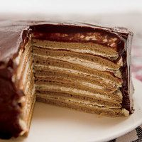 Chocolate-Covered 7-Layer via @rachaelraymagPancakes Parties, Chocolate Cov 7 Layered, Food, Pancakes Layered, Espresso Cream, Pan Cake, Gingersnap Pancakes, Cream Pancakes, 7 Layered Gingersnap