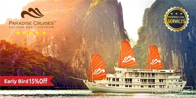 "The 04 Paradise Luxury cruises offer 68 luxurious cabins and suites as well as an exciting array of Halong activities to be enjoyed while experiencing the spectacular scenery of the ""Bay of Descending Dragons"" on one of the best Vietnam cruises."