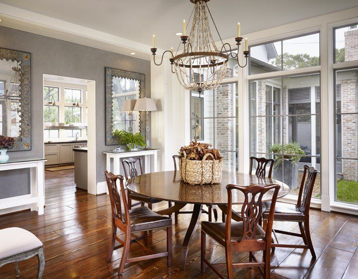 Smoke Gray Wall Color Rich Hardwood Floors Antique Circular Dining Table Chairs Iron Beaded Chandelier White