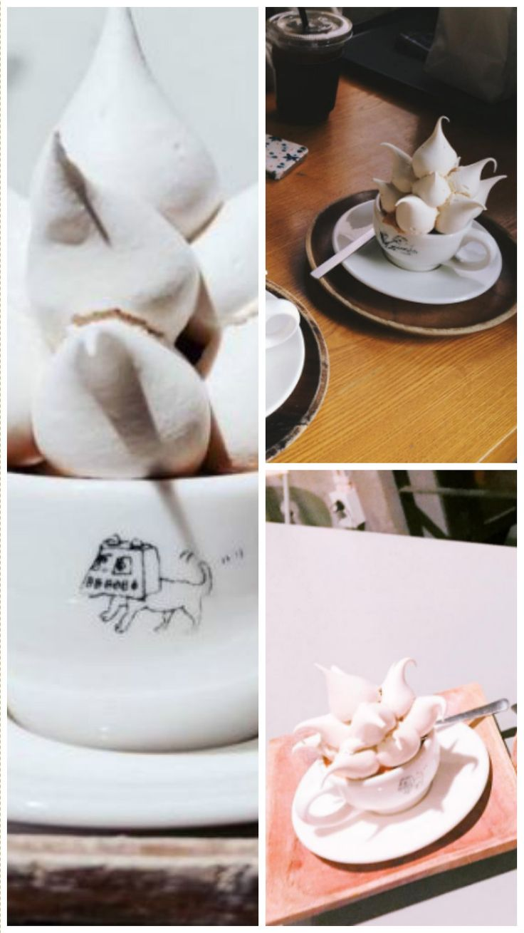 The meringue – which doesn't melt – is designed to be picked up and dunked into the coffee.