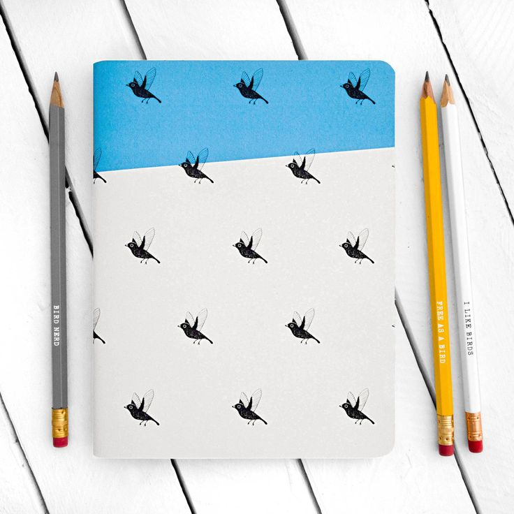 Image of Flying Birds Blue Notebook - Large