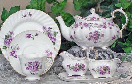 """""""Violets"""" Elizabeth Grey style bone china English tea set, imported from England...$449.99"""