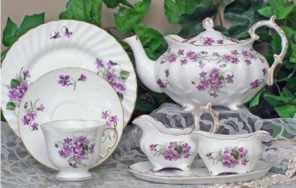 """Violets"" Elizabeth Grey style bone china English tea set, imported from England...$449.99"