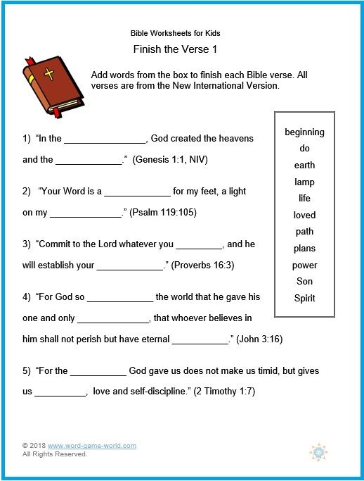 These Bible Worksheets for Kids ask students to fill in the blanks of several key scripture verses. Free, printable #bibleworksheets from #wordgameworld.com