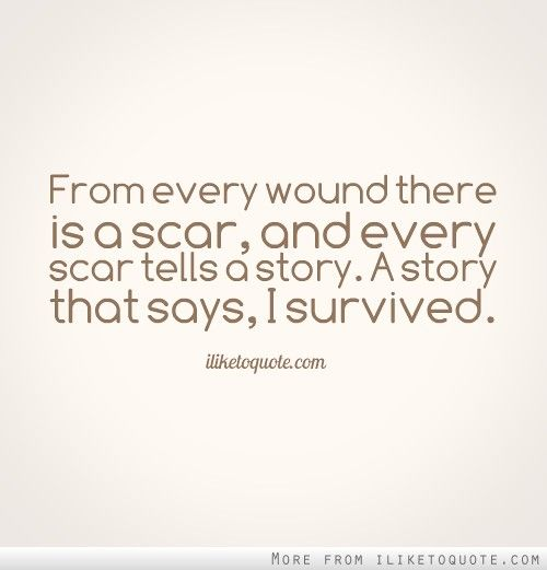 From every wound there is a scar, and every scar tells a story. A story that says, I survived.