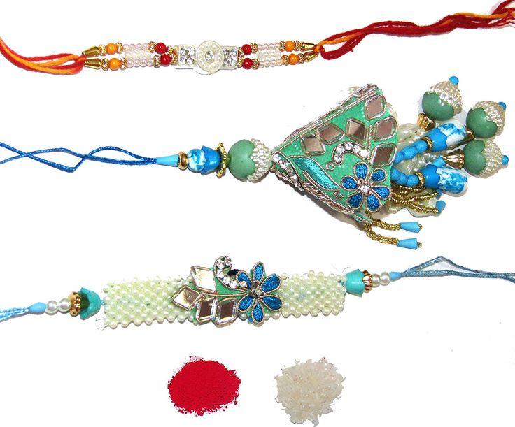 #Nky #Rakhi Blue Silk Thread #Rakhi for bhaiya and bhabhi with moli annd roli chawal pouches