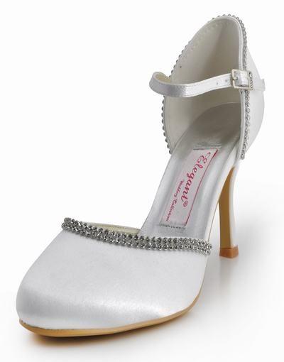 Mjuk hand eleganta beställnings vit satin med tunn rund diamant brudkläder bröllop skor skor EP