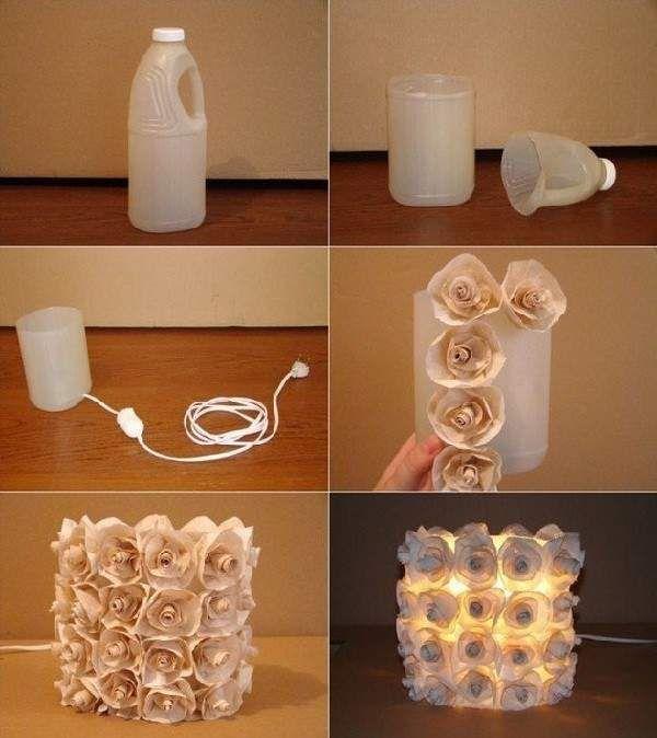 lampara hecha con una botella de plástico