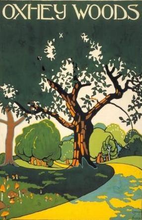 ENGLAND - Oxhey Woods, Hertfordshire, by Edward McKnight Kauffer, 1915 #Vintage #Travel