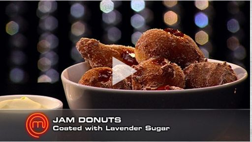 Jam Donuts with Lavender Sugar and Clotted Cream Custard