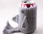 Monster Shark  - Dusty Blue- for your  Soda Can- was featured in ImbibeMagazine.com. $18.00, via Etsy.