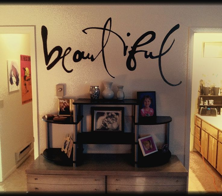 "http://diycraftnation.com Love this wall, glitter paint and ""beautiful"" decal!"