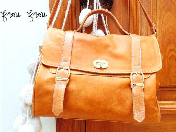 Leather Handbag Shoulder Bag Light Brown with Bronze Golden Hardware Handmade by Frou Frou - Freee Shipping US