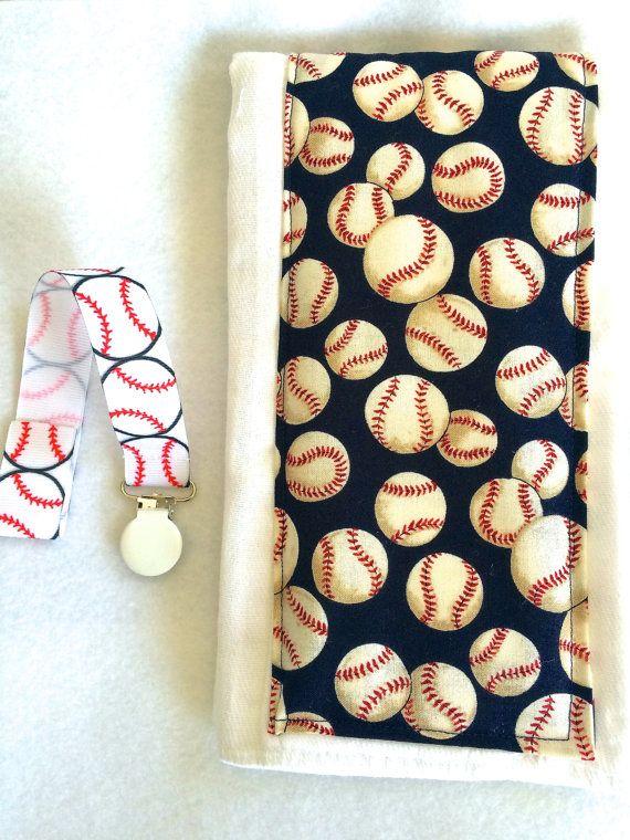 Baby boy burp cloth and pacifier clip***baseball burp cloth**