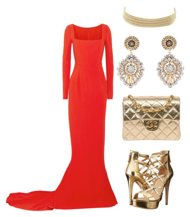 red gold for party by riesta-divanda-devi-chattleya on Polyvore featuring STELLA McCARTNEY, GUESS, Chanel, Miguel Ases and Charlotte Russe
