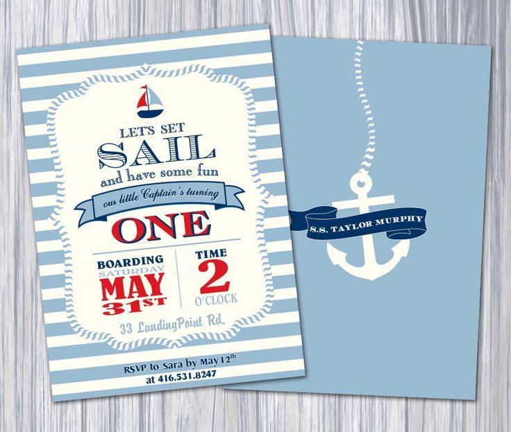 Nautical Birthday Party Theme - Blue Stripe Invitation/Printable Invitation by PapillonStationery on Etsy https://www.etsy.com/listing/187955617/nautical-birthday-party-theme-blue