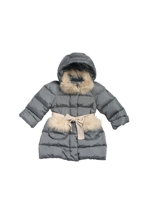 Nylon down-filled jacket with hood and fox fur trims. #ilgufo #fw13 #shopping #downjacket #fashionkids #childrenswear #fashion #musthave #girls