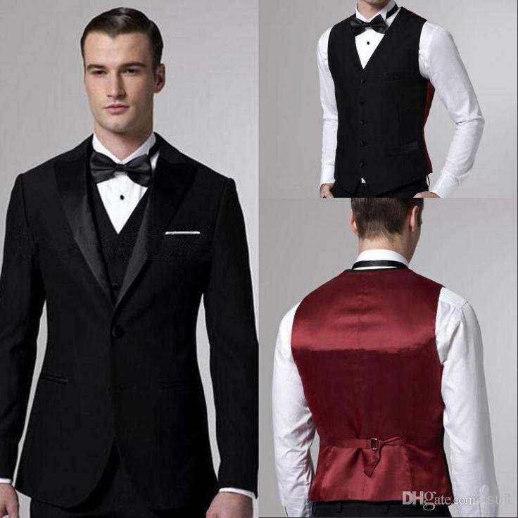 Discount Custom Made Wedding Suit For Men Black Groom ...