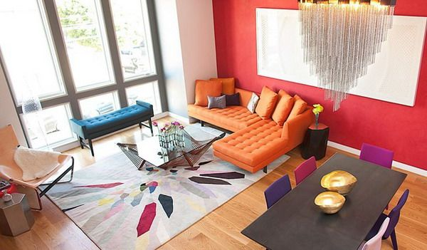Colorful Living Room Ideas with Orange Sofa and Vibrant Area Rug