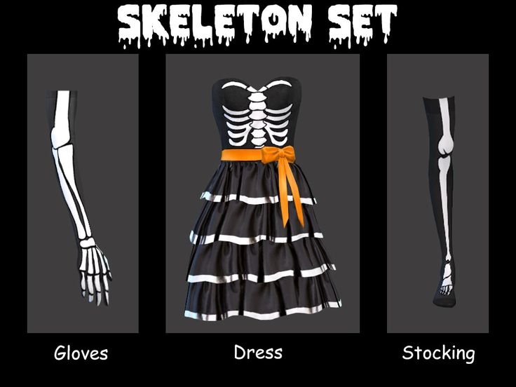 Sims 4 | Skeleton Set #SegerSims CAS clothing fullbody dress gloves socks accessory costume halloween base game recolor female adult