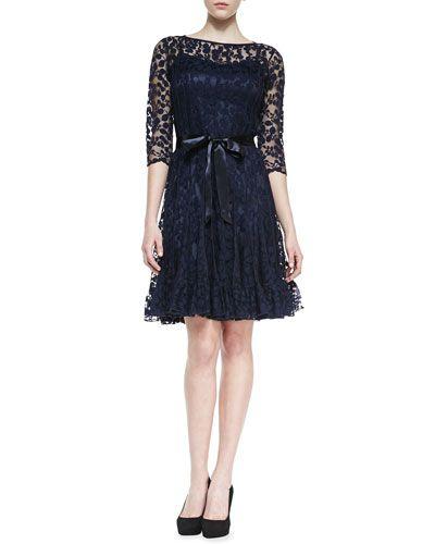 3 4 lace dress neiman