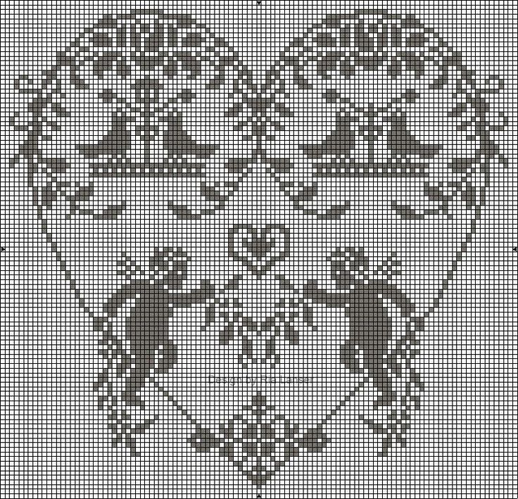 cuore angeli punto croce