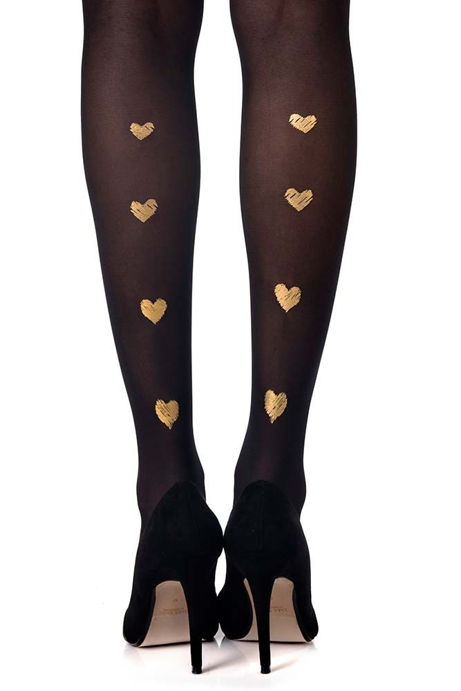 Golden Hearts on Black Sheer Tights, perfect for Valentines day!