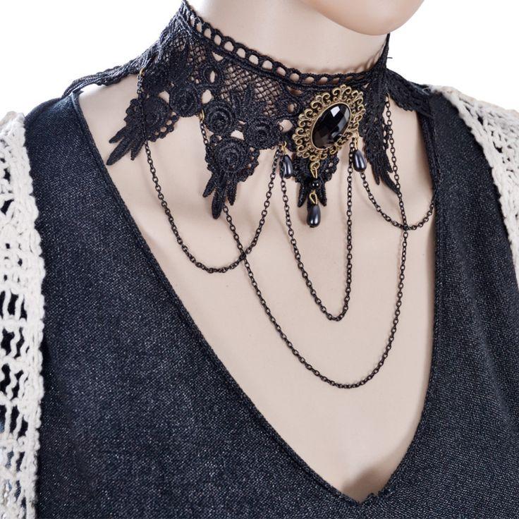 2016 Fashion Gothic Tattoo Tassel Lace Necklace Pendant Vintage Wedding Jewelry Choker Necklace Women False Collar Statement