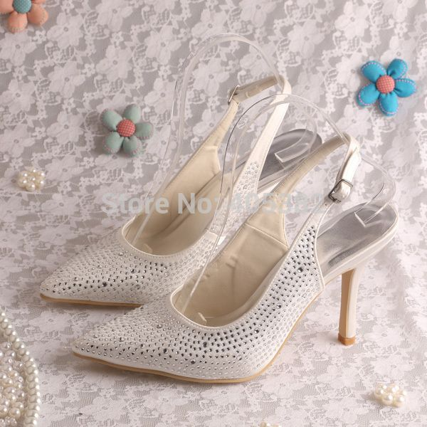 Wedopus MW906 Italian High Heel Shoes Crystal for Wedding Pointed Toe Slingback Style Dropshipping