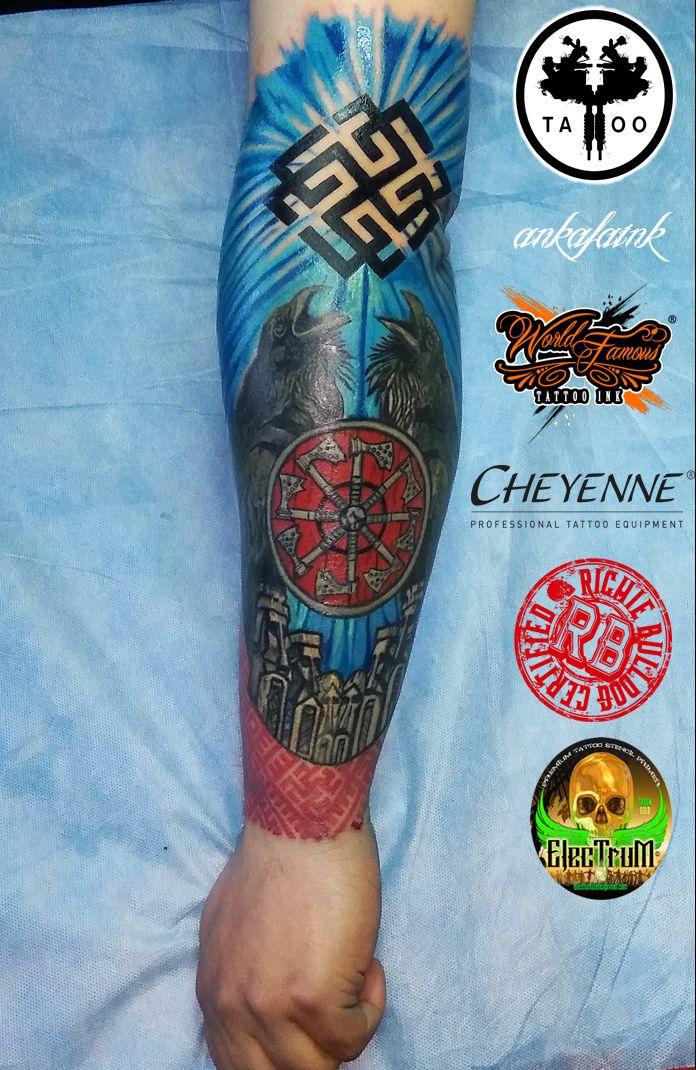 Slavic pagan tatoo Kolovrat Crows God by @ankafaink / Słowiański pogański tatuaż Kołowrat