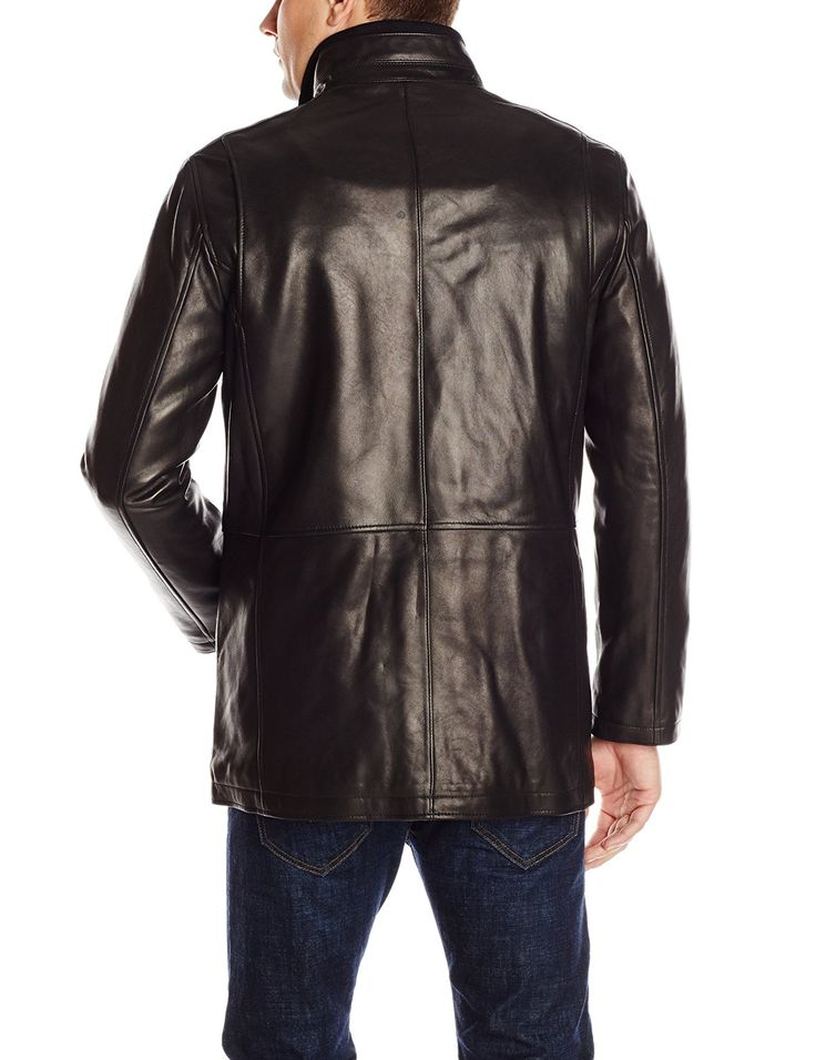 Cole Haan Men's Smooth Leather Car Coat at Amazon Men's Clothing store: