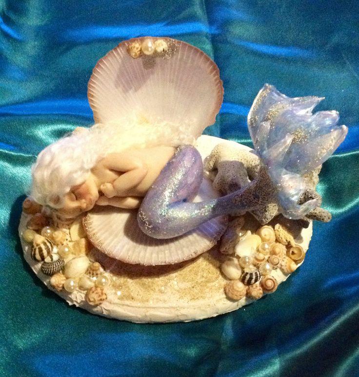 "OOAK original clay sculpted merbaby ""Alyssia Pearl"" hand sculpted by Kaye Schlenert of Kotton Valley Dolls. SOLD www.facebook.com/Raggedydreaming?ref=hl"
