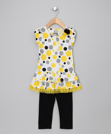 Take a look at this Yellow Polka Dot Tunic & Leggings - Girls by Buster Brown & Co. on #zulily today!