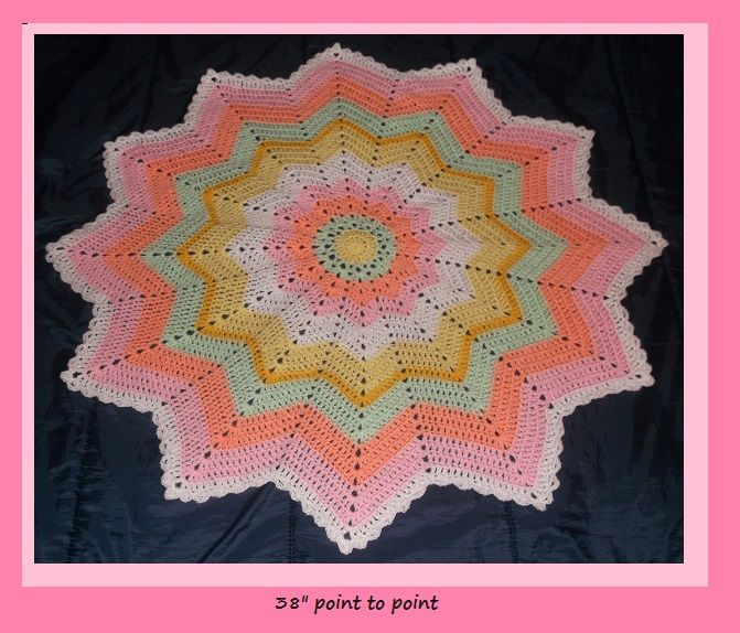 Crochet Pastel Citrus Baby Blanket Afghan 12 point star ...