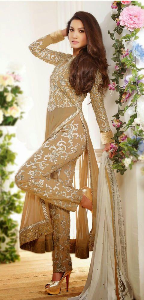 Gauhar Khan Beige Wedding Anarkali in Georgette with Embroidery Border