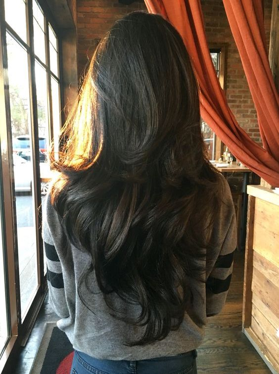 Long Dark Chocolate-Brown Hair Colors Ideas for Wavy Hairstyle 2017 with Layers
