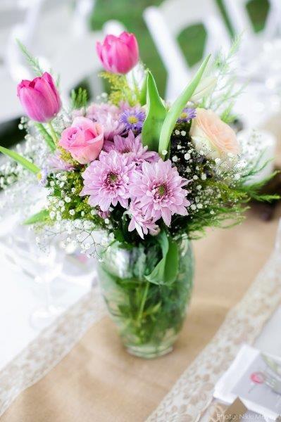 Pink flowers wedding