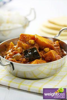 Pumpkin Eggplant and Chickpea Curry. #HealthyRecipes #CurryRecipes #WeightLoss #WeightlossRecipes weightloss.com.au