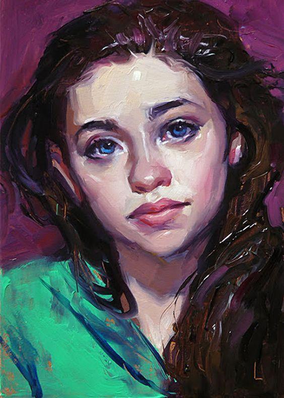 """Bright"" - John Larriva, oil on wood panel, 2015 {contemporary #expressionist art beautiful female head woman face portrait painting} larriva.blogspot.com"