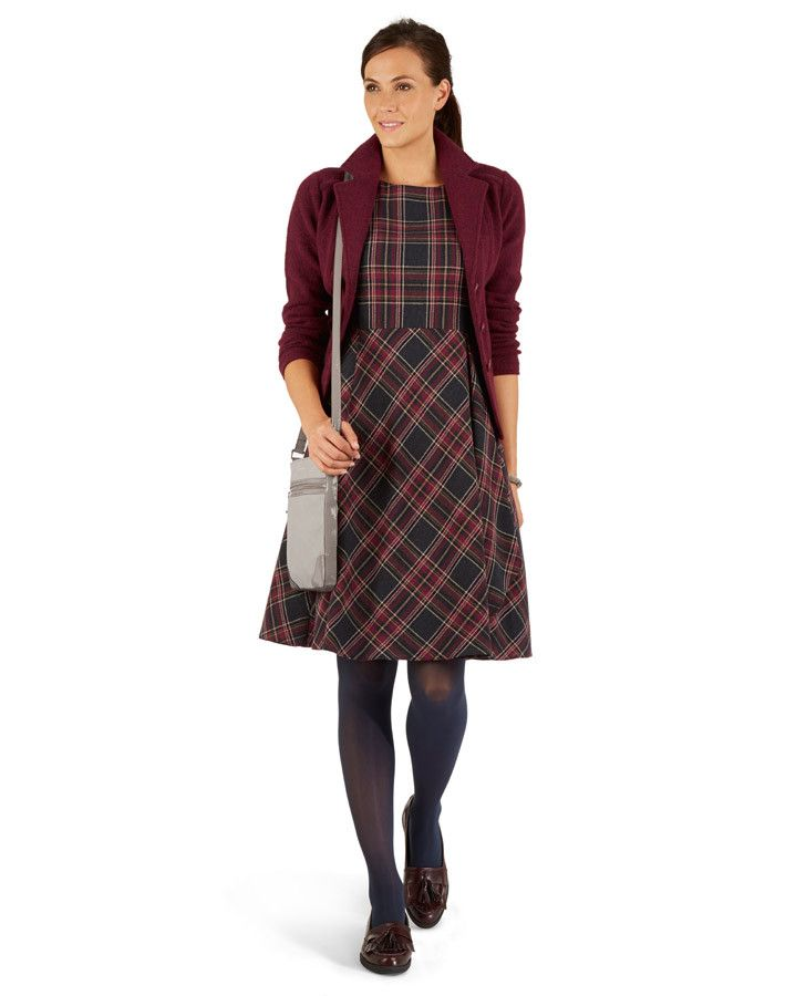 Laura Ashley Check Flounce Wrap Dress and Boiled Lambswool Cardigan