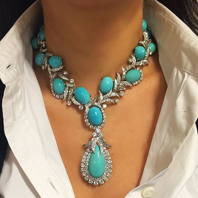 Arguably one of the most fabulous early pieces of David Webb I have ever seen, this turquoise and diamond necklace is show stopping on every level. This necklaces features a detachable back chain that allows the necklace to be worn short or long, the two sections of back chain can be connected together to form a bracelet. The front section of the necklace can also detach to make a killer pair of bracelets while the pendant becomes a clip quickly and easily. Without question the most versa...