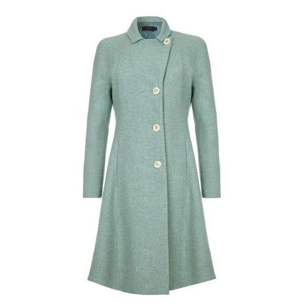 J100AW16 JEANETTE Tweed Coat ❤ liked on Polyvore featuring outerwear, coats, retro coat, double breasted coat, collar coat, tweed wool coat and green tweed coat
