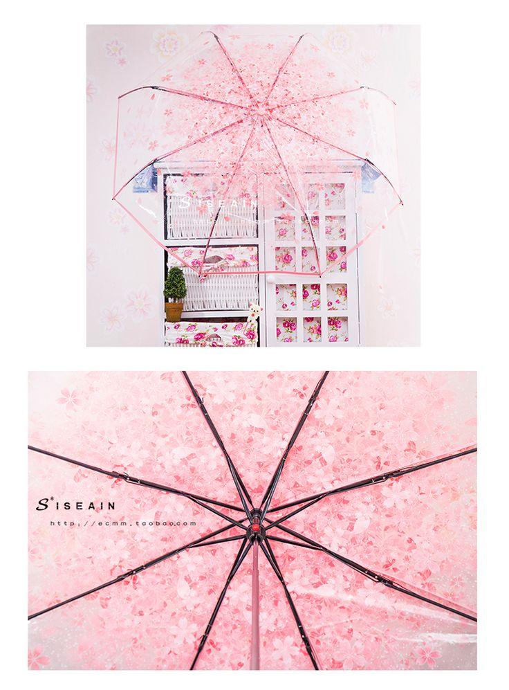 Creative transparent cherry folded umbrella folding umbrella female Korean Japanese cherry shade literary fresh and lovely Meng umbrella - Taobao global Station