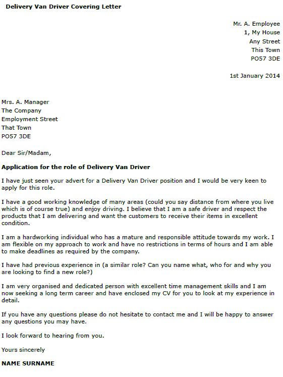 Cover Letter Examples For Driving Job Application Sample Driver