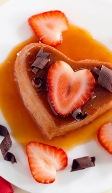 6-ingredient strawberry flan - Fall in love with this creamy strawberry flan, topped with caramel, chocolate curls and fresh strawberries. What's better? It's low fat!