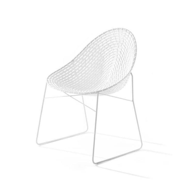 Source woven chair    Designer: Haldane Martin    The frame is made from 60% recycled stainless steel, which can be powder coated in a variety of colours. The traditional zulu basket weaving material  is uv stable polypropylene.
